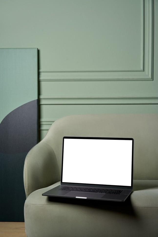 salon avec un mur vert et du mobilier de la même couleur
